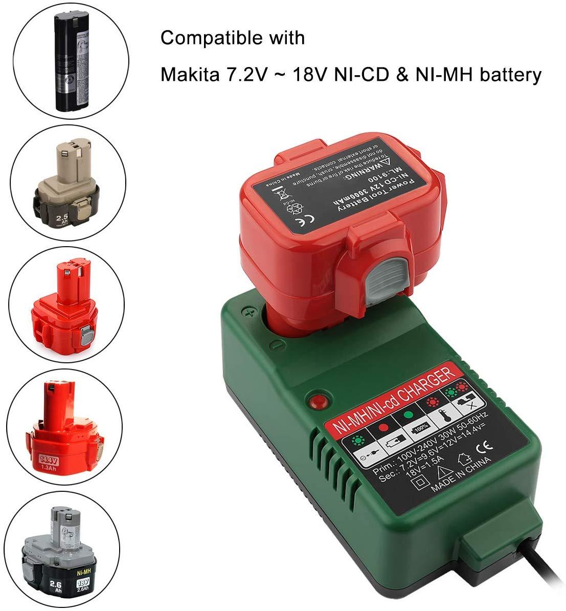 Battery Charger Tools For Makita NI-CD NI-MH Electric Drill Battery Charger 7.2V 9.6V 12V 14.4V 18V 6010D 6261D 6226DWE 6270D
