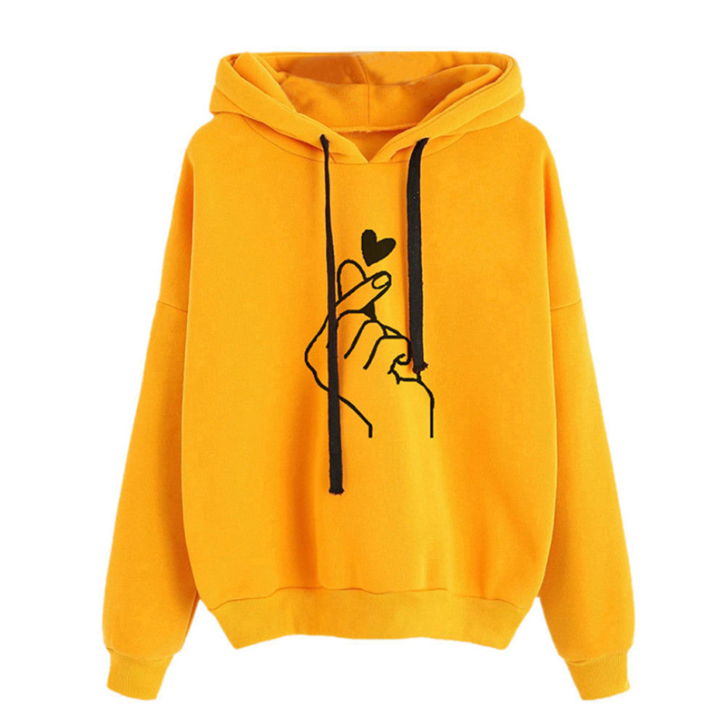 2020 New S-3XL Autumn Winter Cotton Heart And Hand Printed Pullover Thick Loose Women Hoodies Sweatshirts Female Casual Coat