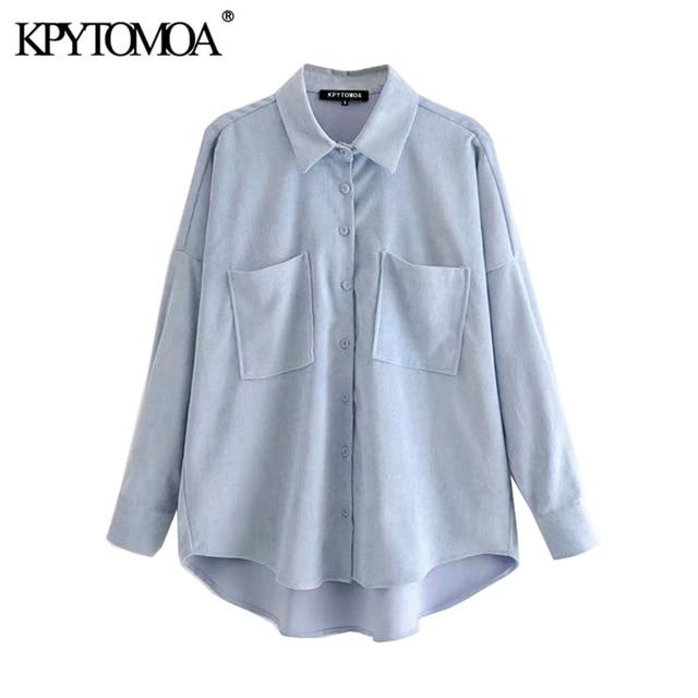 KPYTOMOA Women 2020 Fashion Pockets Oversized Corduroy Shirts Vintage Long Sleeve Asymmetric Loose Female Blouses Chic Tops 4