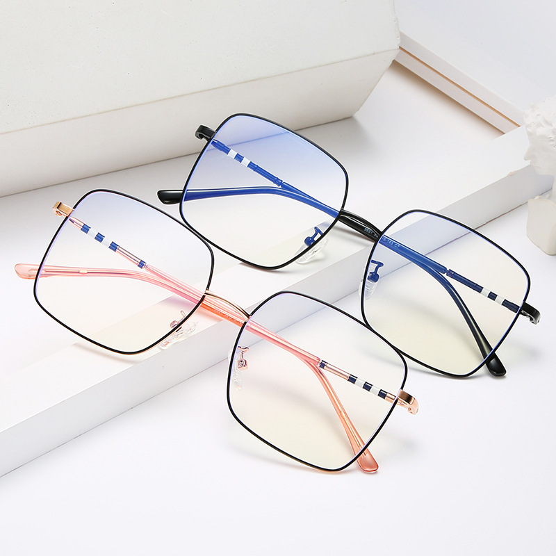 New Trend Korean Full Frame Glasses Frame Metal Anti-Blu-ray Square Glasses Men and Women Fashion Literature Flat Lenses.
