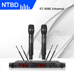 NTBD Speak Church Conference Home KTV Stage Performance ST9380 Professional Dual Wireless Microphone Dynamic True Diversity