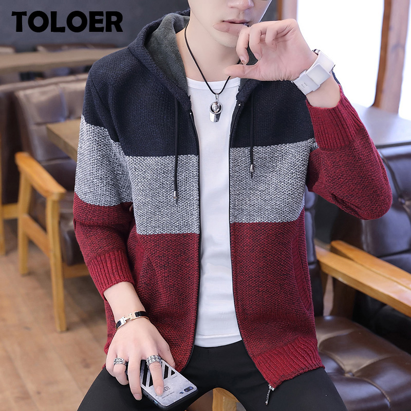 Winter Thick Men''s Knitted Sweater Coat Splice Long Sleeve Cardigan Fleece Full Zip Knitwear Male Causal Autumn Cardigan Sweater