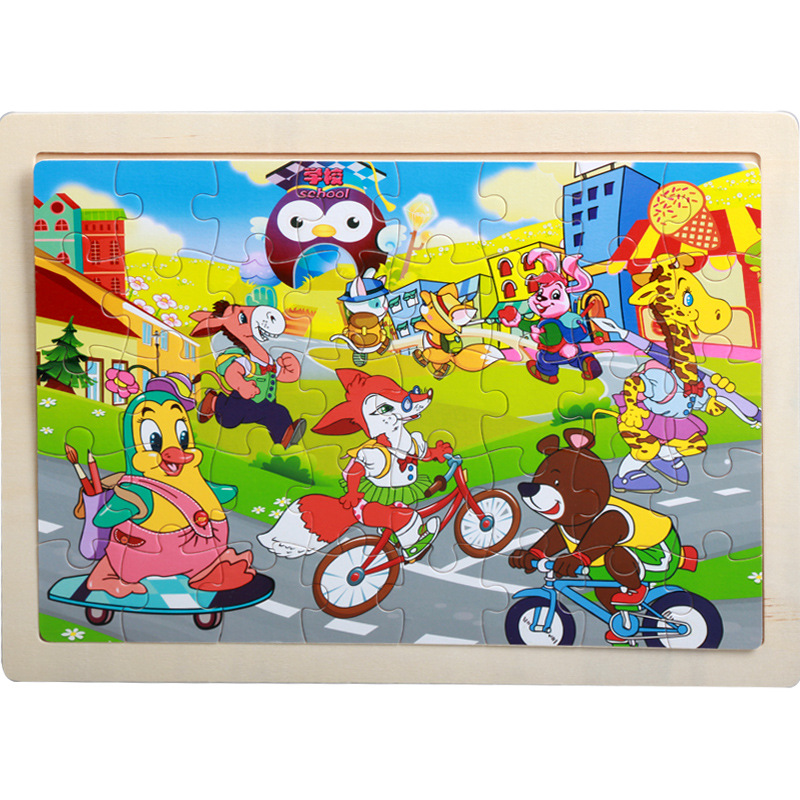 40 Pieces Kids Wooden Puzzle Board Toy Fun Cartoon Animal Jigsaw Boy Girl Baby Early Educational Learning Toys for Children Gift 9