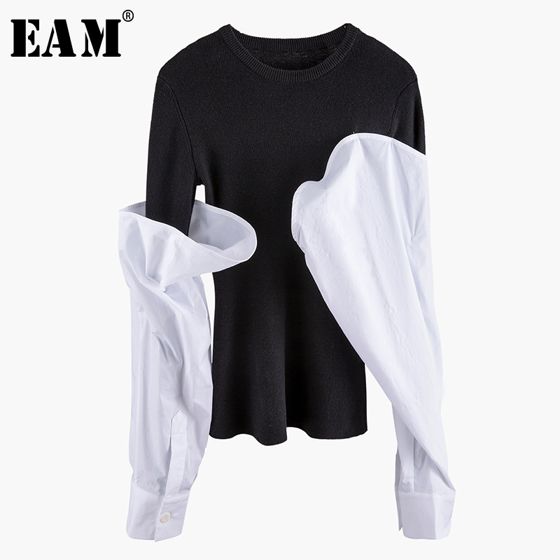 [EAM] Contrast Color Split Knitting Sweater Loose Fit Round Neck Long Sleeve Women Pullovers New Fashion Tide Spring 2020 1N903