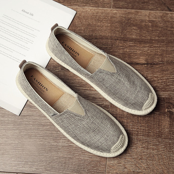 Whoholl Breathable Linen Casual Mens Shoes Old Beijing Cloth Canvas Summer Leisure Flat Fisherman Driving Wicking