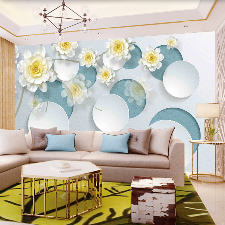 Modern Minimalist Flower Wall Wallpaper Television Sofa Living Room Bedroom Decoration Living Room Wallpaper 3D Wallpaper