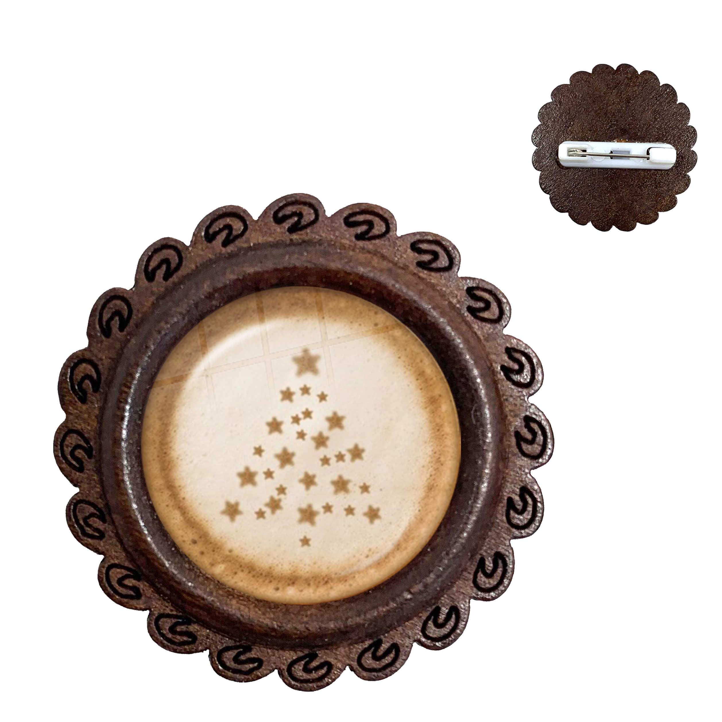 Кофе латте резьба сердце любовь искусство 20 мм стекло кабошон деревянные броши шоколадная печать четыре листа Клевер кошка колье с амулетом булавки
