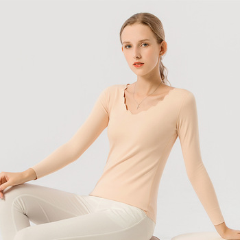 Autumn Thermal Underwear Petal Neckline Long Sleeves Seamless Shirt Women High Elastic Warm tmall thermal tops women