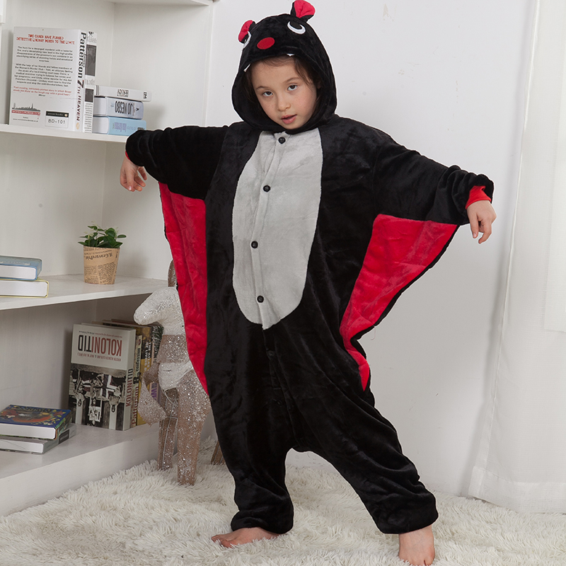 Kids Bat Pajamas Suit Animal Kigurumis Onesie Baby Girl Boy Clothes Sleepwear Flannel Soft Child Party Jumpsuit Costume