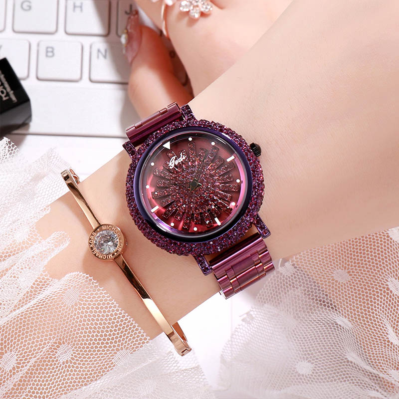 GEDI New Women Rhinestone Watches Women watch Diamond Luxury brand  Magnet Strap Wristwatch ladies Crystal Quartz Clocks dress