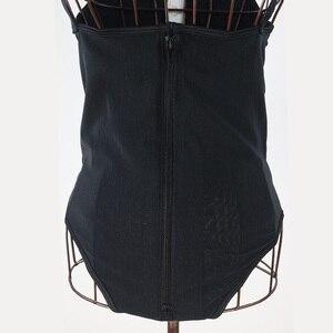 Image 4 - 女性セクシーなtバック着用オープン股アンダーバストボディスーツ黒ジッパー下着fajas reductoras痩身ウエストトレーナー