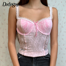 Darlingaga Fashion Strap Ruched Pink Lace Top Bow See Through Sexy Crop Top Women Cami Y2K Ladies Corset Bow Frill Tank Tops Hot