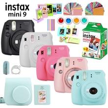 Película instantánea Fujifilm Instax Mini 9 en 6 colores, cámara + 20 láminas Mini 8 películas en blanco Fotos + bolsa + álbum + filtros + marcos