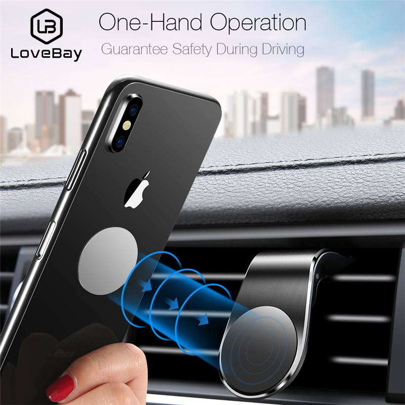 Lovebay Metal Magnetic Car Phone Holder Stand For Iphone Samsung Xiaomi Car Air Vent Magnet Stand In Car GPS Mount Holder