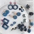 Серьги-подвески AENSOA в Корейском стиле женские, простые Висячие ювелирные украшения из синей акриловой смолы с геометрическим рисунком, кру...