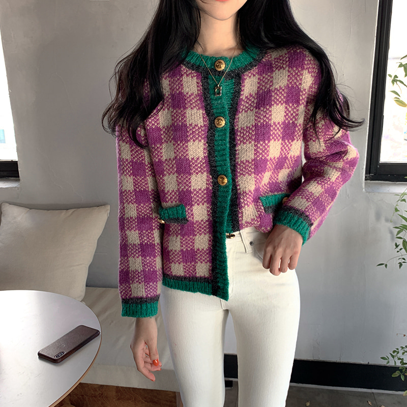Alien Kitty 2020 Korean Spring Knitted Sweaters Lady Vintage Plaid Knit Cardigan Female Fashion Sweater Coat For Women Clothing