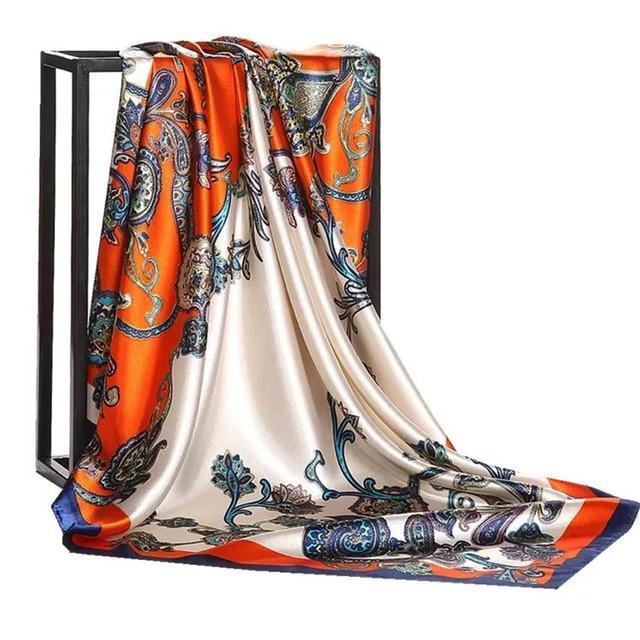 Silk Foulard 90*90cm Square Head Hijab Scarf 3