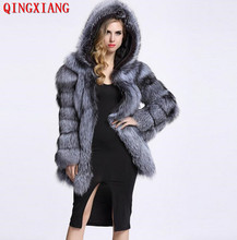 2019 Women S-4XL Winter Plus Size Real Sample Slim Plush Coat Faux Fox Fur Cardigan Ladies 3 Colors Thick Overcoat With Hat