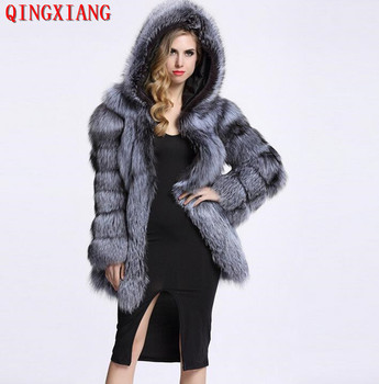 2019 Women S-4XL Winter Plus Size Real Sample Slim Plush Coat Faux Fox Fur Cardigan Ladies 3 Colors Thick Overcoat With Fur Hat image