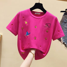 Летние женские топы 2020 футболка с вышивкой Женская хлопковая