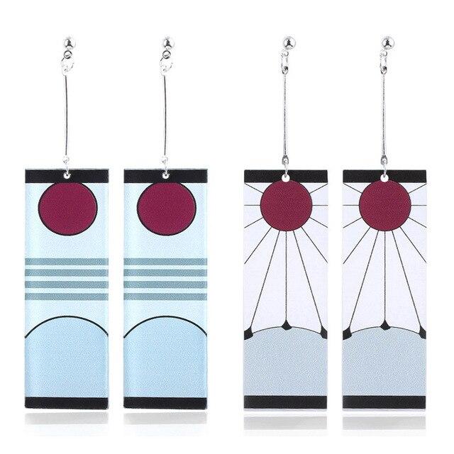 Acrylic Drop Earrings Demon Slayer Kimetsu no Yaiba Blade of Ghost Earings For Women Men Cosplay Jewelry Accessories Gift 2