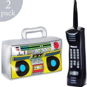 Caja hinchable para teléfono móvil, accesorio para decoración de fiestas de los años 90, 80, 2 piezas