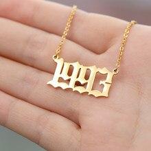 Aço inoxidável ano de nascimento colar para mulher 1996 1997 1998 1999 ano gargantilha colar pingente ouro prata cor corrente jóias