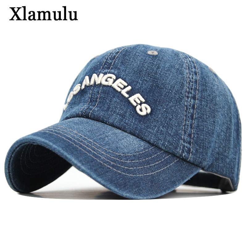 Xlamulu Denim Baseball Cap Men Women Jeans Snapback Caps Casquette Plain Bone Hat Gorras Men Losangeles Casual Dad Male Hats