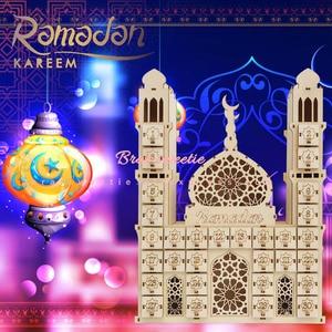 Image 2 - Décoration de fête musulmane islamique pour la maison, avec Tracker EID Mubarak, calendrier compte à rebours en bois Maulid al nabi