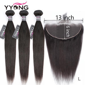 Yyong Lace-Frontal Bundles Human-Hair 13x6 Peruvian Straight with Ear-To-Ear Remy