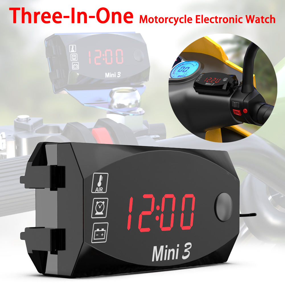 Three-In-One Automobile Car Clock LED Display Dashboard Watch With Digital Car Thermometer Waterproof Dust-proof For Car Motor