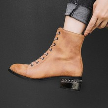 Women Ankle Boots Round Toe Chunky Mid Med Heels PU Leather Lace Up Shoes Woman Chaussure Zapatos Mujer Gladiator Booties WXZ210 velvet satin paneled leather plaid lace up gladiator sandals kim kardashian designer shoes chunky high heels caged ankle boots
