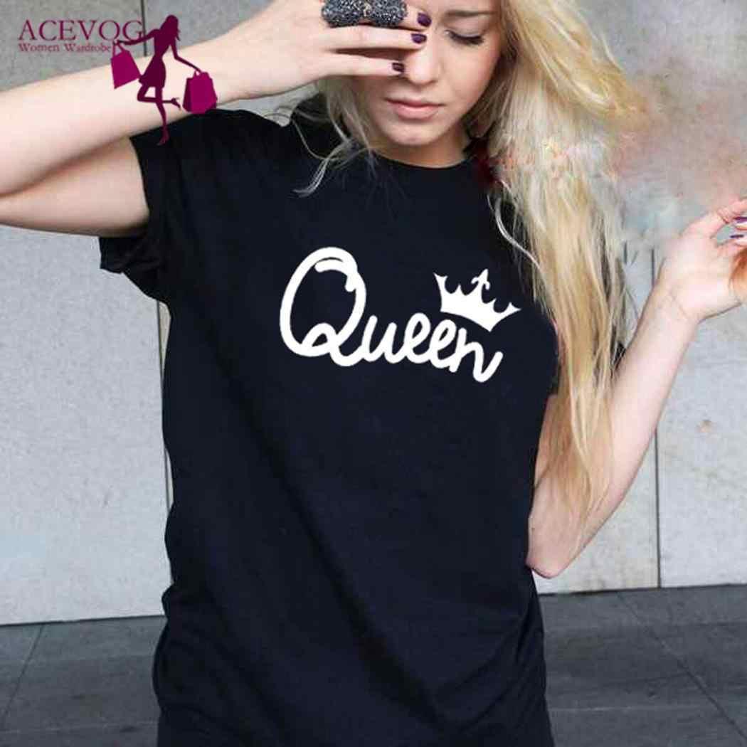 נשים גברים אופנה קיץ עגול צוואר קצר שרוול מלך סיבתי מלכת מכתב שחור חולצה זוג