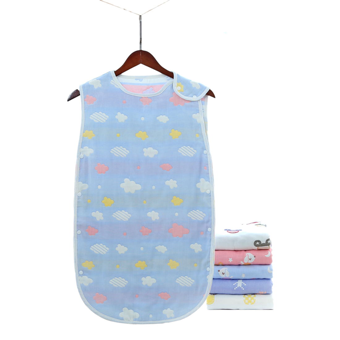 45 X 80cm Pure Cotton Vest-Style Anti-Kick Sleeping Bag For Baby Wrap Toddler Blanket Sleeping Bags - Clouds Blue/Clouds Pink