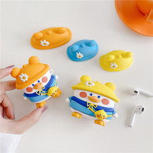 Cute Cartoon Duck Silicone Earphone Case For Apple AirPods 3 2 1 Capas For air pods Pro Cases Funny Headphone Protection Covers