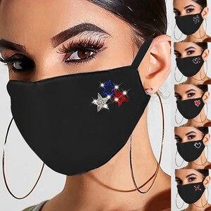 Reusable Face Mask Women's Sequin Cotton Fabric Facial Mask Diamonds Bling Personality Reusable Masks Mascarilla Reutilizable