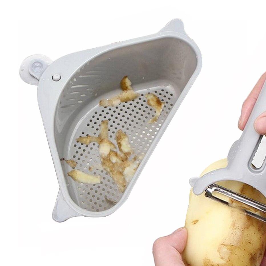 Basedidea Kitchen Sink Drainer Soap Sponge Storage Basket Corner Suction Cup Strainer Rack Kitchen Organizer Bags Baskets Aliexpress