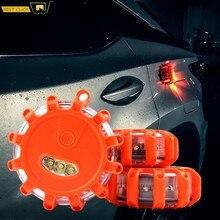 3x Bengala de seguridad de emergencia magnética 15 LED 9 modos de Bengala de carretera de advertencia intermitente luz nocturna para la luz ámbar del barco del coche