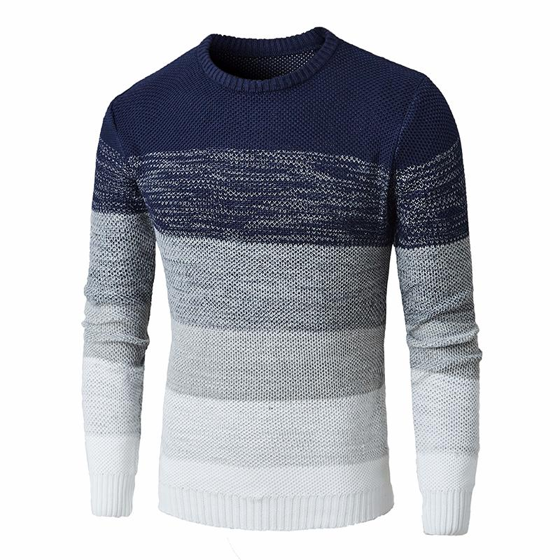 Men Autumn New O-Neck Causal Hombre Striped Sweater Pullovers Men Brand Warm Knitwear Casual Sweaters Jumper  For Teens Men