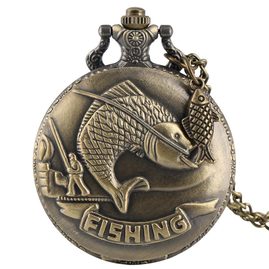 Vivid Fishing Carving Design Quartz Pocket Watch Vintage Bronze Interesting Design Angling Clock For Men Women + Fish Accessory