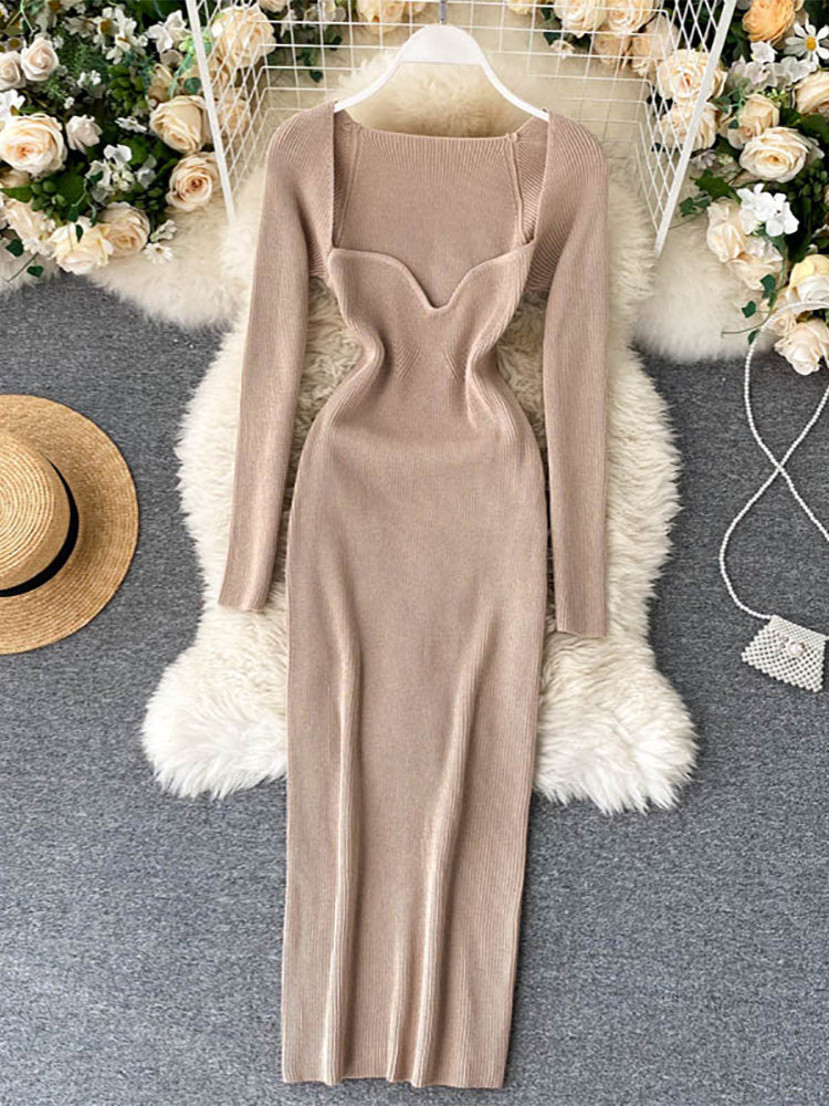 Croysier Dresses For Women 2020 Sexy Strapless Ribbed Knitted Bodycon Dress Women Winter