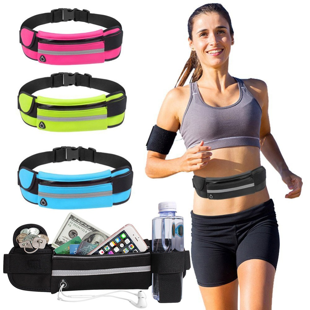Outdoor Running Waist Bag Waterproof Anti-theft Mobile Phone Holder Invisible Kettle Belt Belly Bag Women Gym Fitness Bag TX005