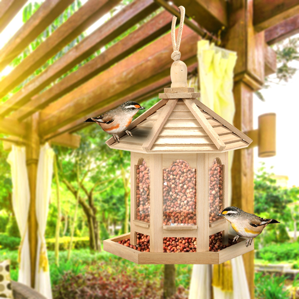 Outdoor Garden Wooden Birds House Shaped Feeder Food Container With Hang Rope For Garden Park Bird Feeder Hotel Table T3