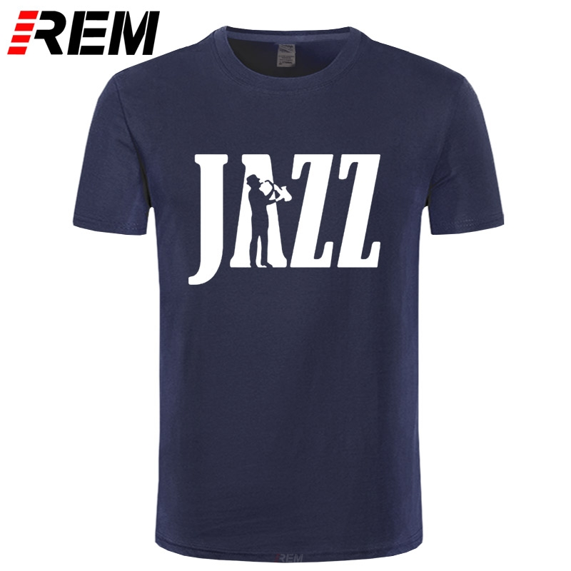REM Brand Clothing Jazz Newest Saxophone Funny T Shirt Tshirt Men Cotton Short Sleeve T-shirt Top Camiseta