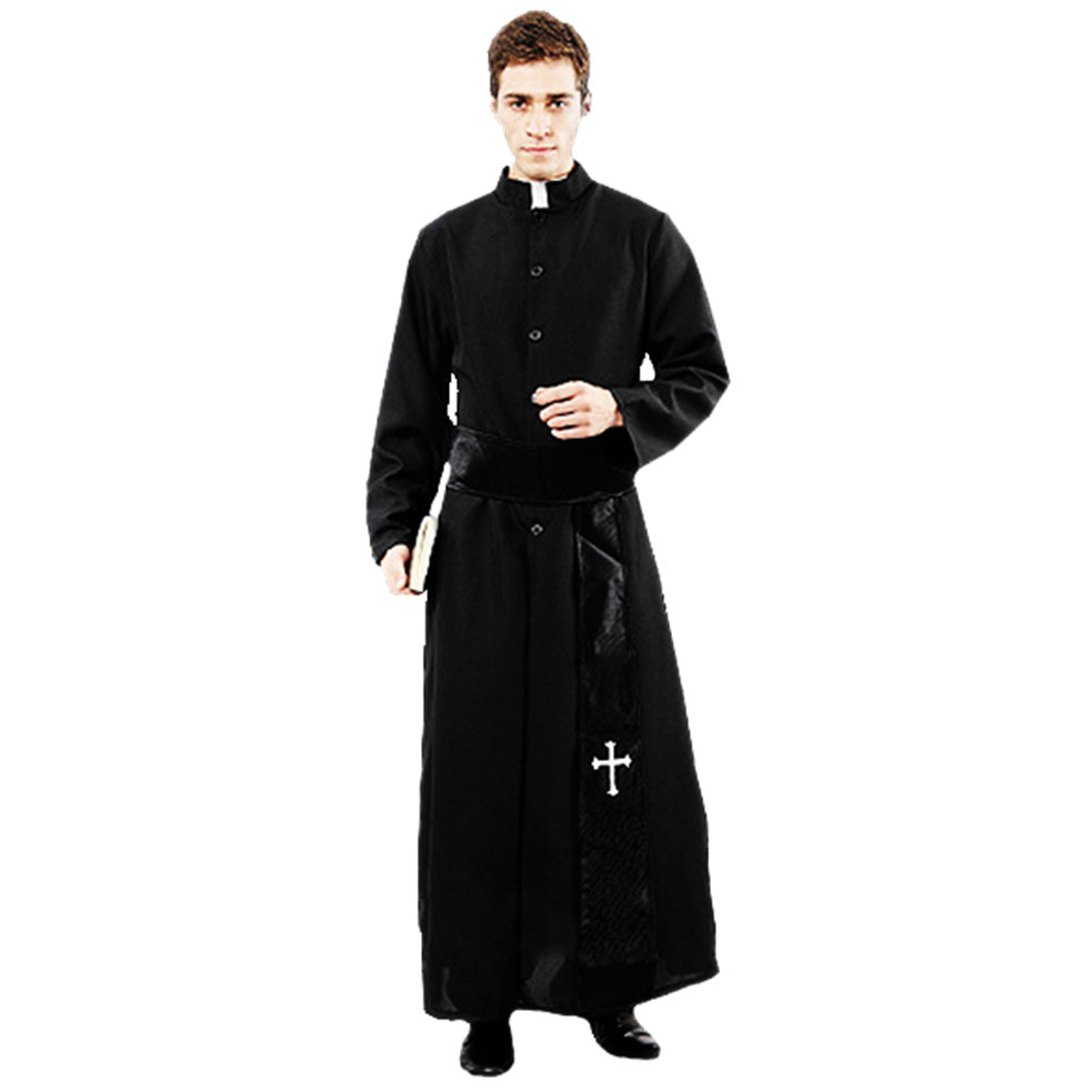 Umorden Adult Black Noble Priest Costume Men Religious Pastor Father Costumes Halloween Purim Party Mardi Gras Fancy Dress-in Holidays Costumes from Novelty & Special Use