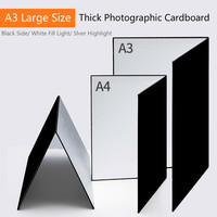 black silver 58*42cm Camera Photography Accessory Collapsible Cardboard White Black Silver Reflector Absorb Light Thick Reflective Paper (1)