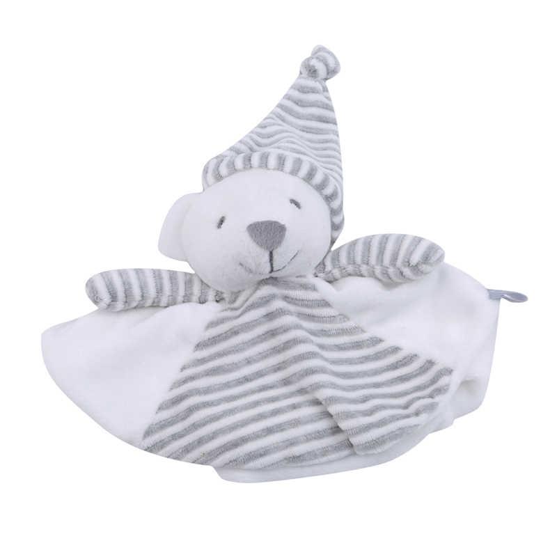 الكرتون لطيف الدب رعاية الطفل منشفة ناعمة مع لعبة دب رمادي مستدير مهدئ منشفة دمية طفل ألعاب من نسيج مخملي للأطفال الصغار