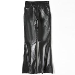 Plus Größe Echtem Leder Hosen Frauen Frühling Kleidung Flare Hose Echt Schaffell Schwarze Hose Elegante Damen 2020 LWL1609
