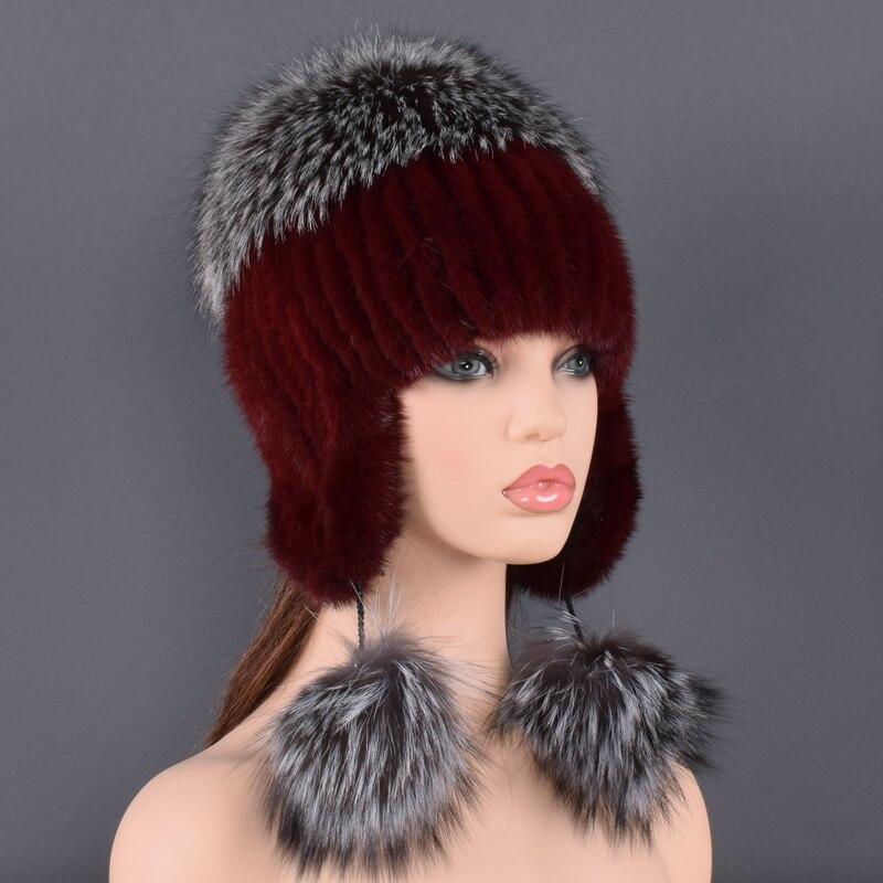 Sombrero de piel Natural para mujer Piel de visón Real y piel de zorro hecho a mano invierno mujer gorra de piel genuina forrado gorros grandes sombreros de pompón de piel de zorro - 5