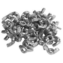 High Quality M6 Stainless Steel Wing Butterfly Nut silver tone 50pcs